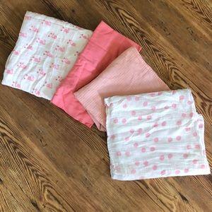 Pink Muslin Baby Blankets x4